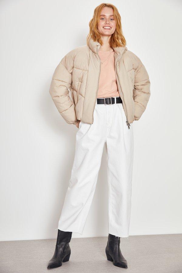 Стеганая куртка оверсайз цвет: пудра