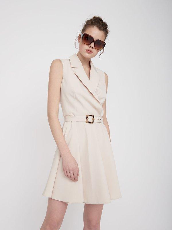 Платье Х-силуэта без рукавов цвет: бежевый