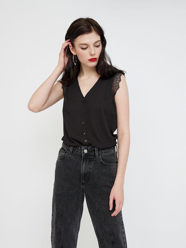 Рубашка с кружевными рукавами цвет: черный