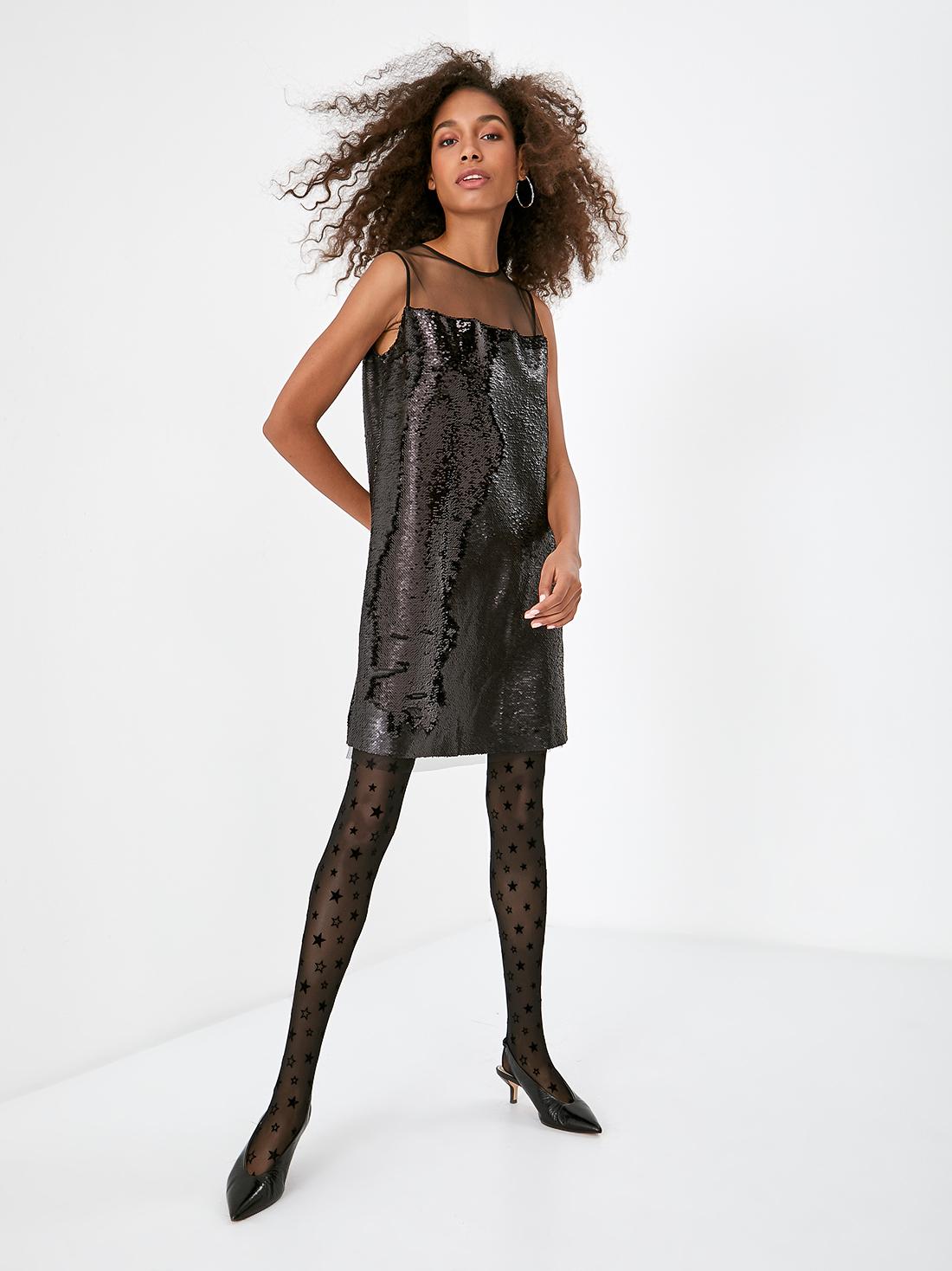 Платье из сетки с пайетками