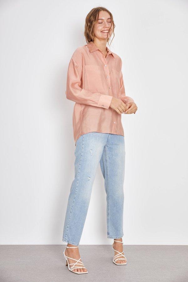 Рубашка с карманами цвет: лососевый