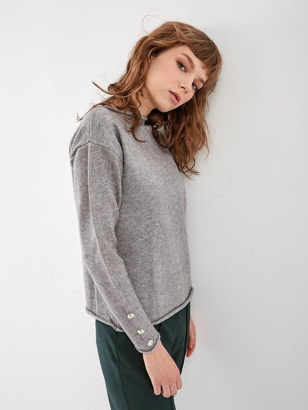 Джемпер с декоративными элементами  цвет: серый меланж