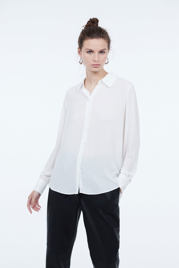 Рубашка прямого силуэта цвет: молочный