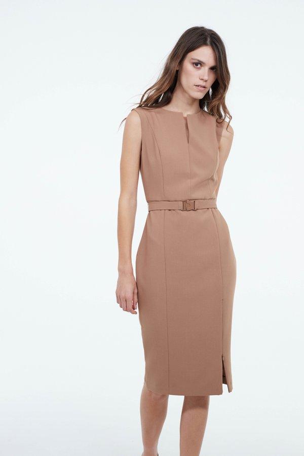 Платье с разрезом на молнии цвет: бежевый