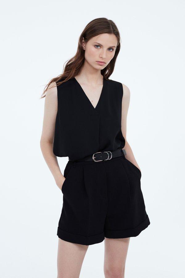 Блузка со складкой цвет: черный