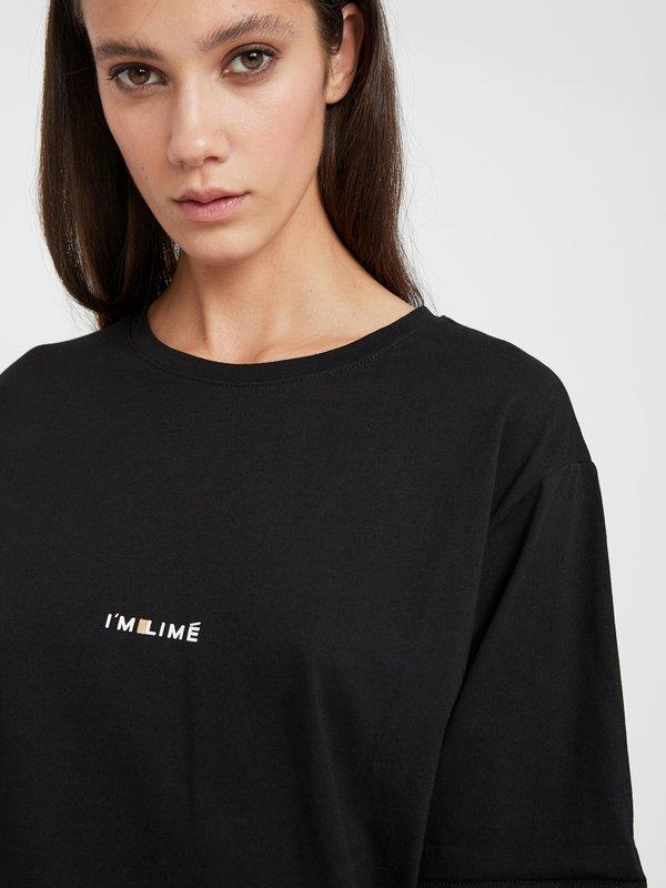 """Футболка с принтом """"I'M LIME"""" цвет: черный"""