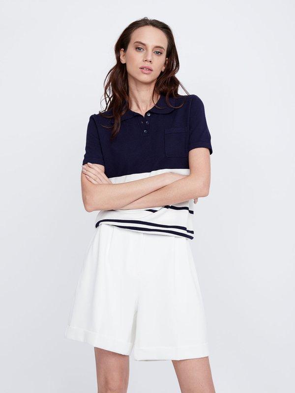 Джемпер с коротким рукавом и нагрудным карманом цвет: темно-синий