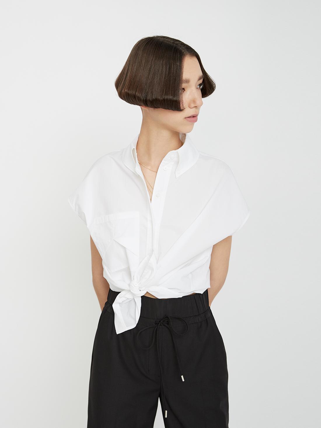 60c84c34016 Рубашка с отложным воротником на пуговицах белый цвет - Рубашки и ...