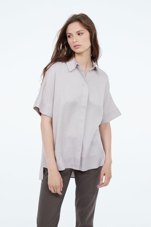 Рубашка в стиле оверсайз цвет: светло-серый