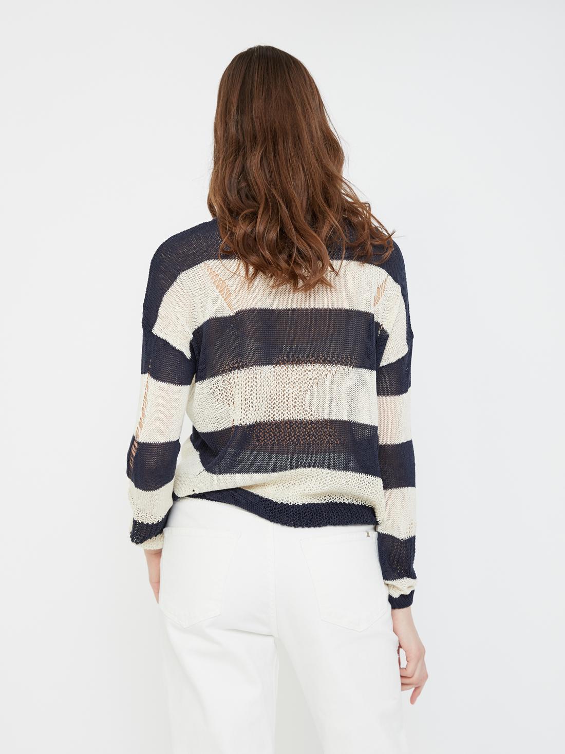 Джемпер с комбинированной вязкой
