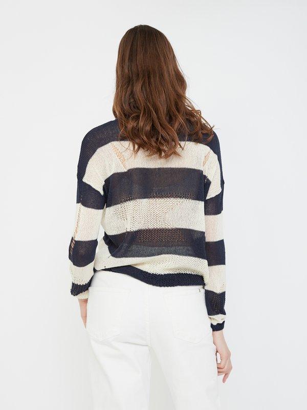 Джемпер с комбинированной вязкой вид сзади