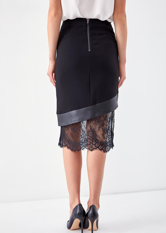 Комбинированная юбка с кружевом