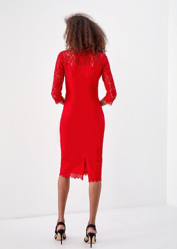 Облегающее платье из кружева вид сзади