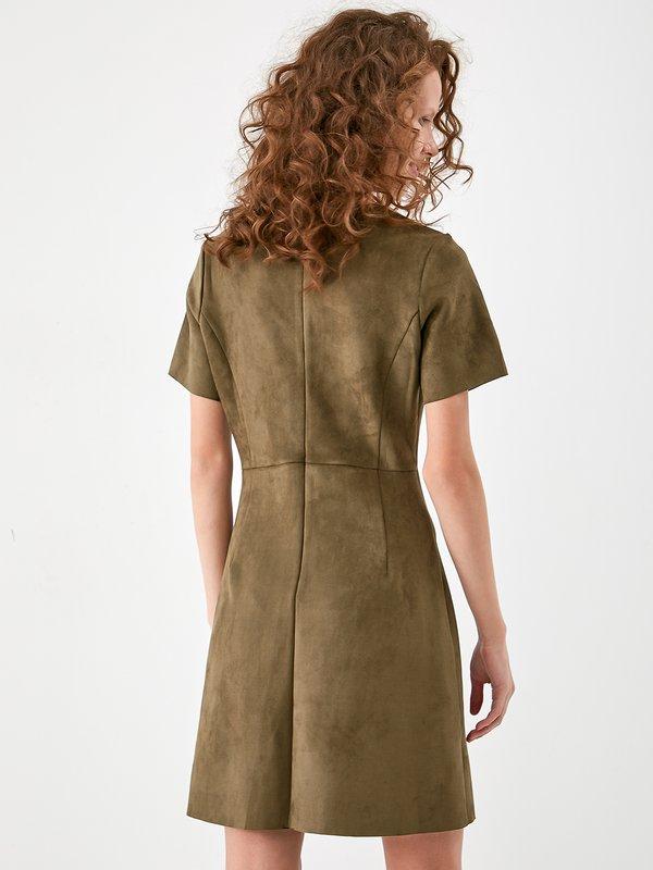 Платье - футляр из замши  вид сзади