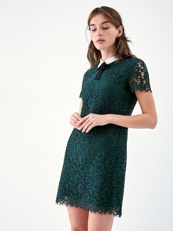Платье с кружевом цвет: темно-зеленый