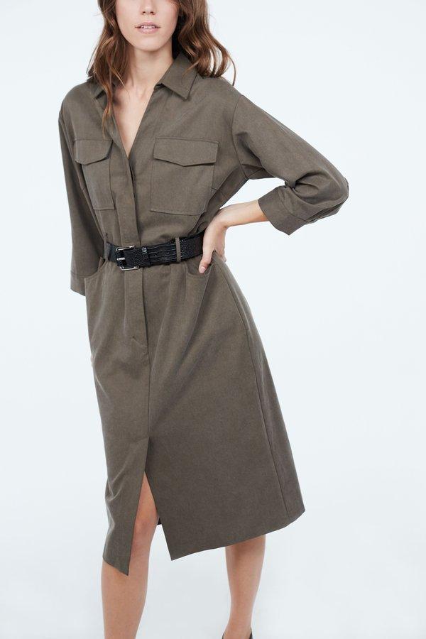 Платье с контрастным ремнем цвет: хаки