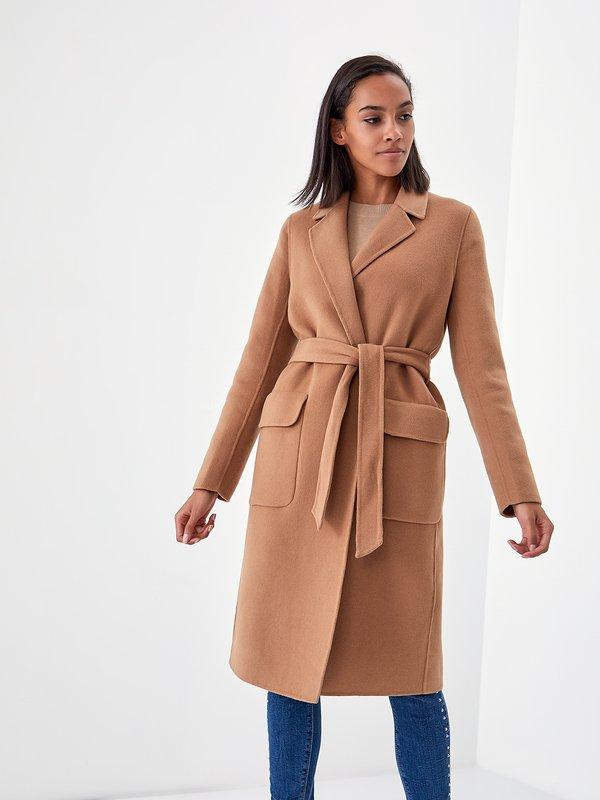 Пальто на запах цвет: карамельный