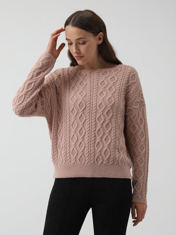 Джемпер с косичками цвет: пепельно-розовый