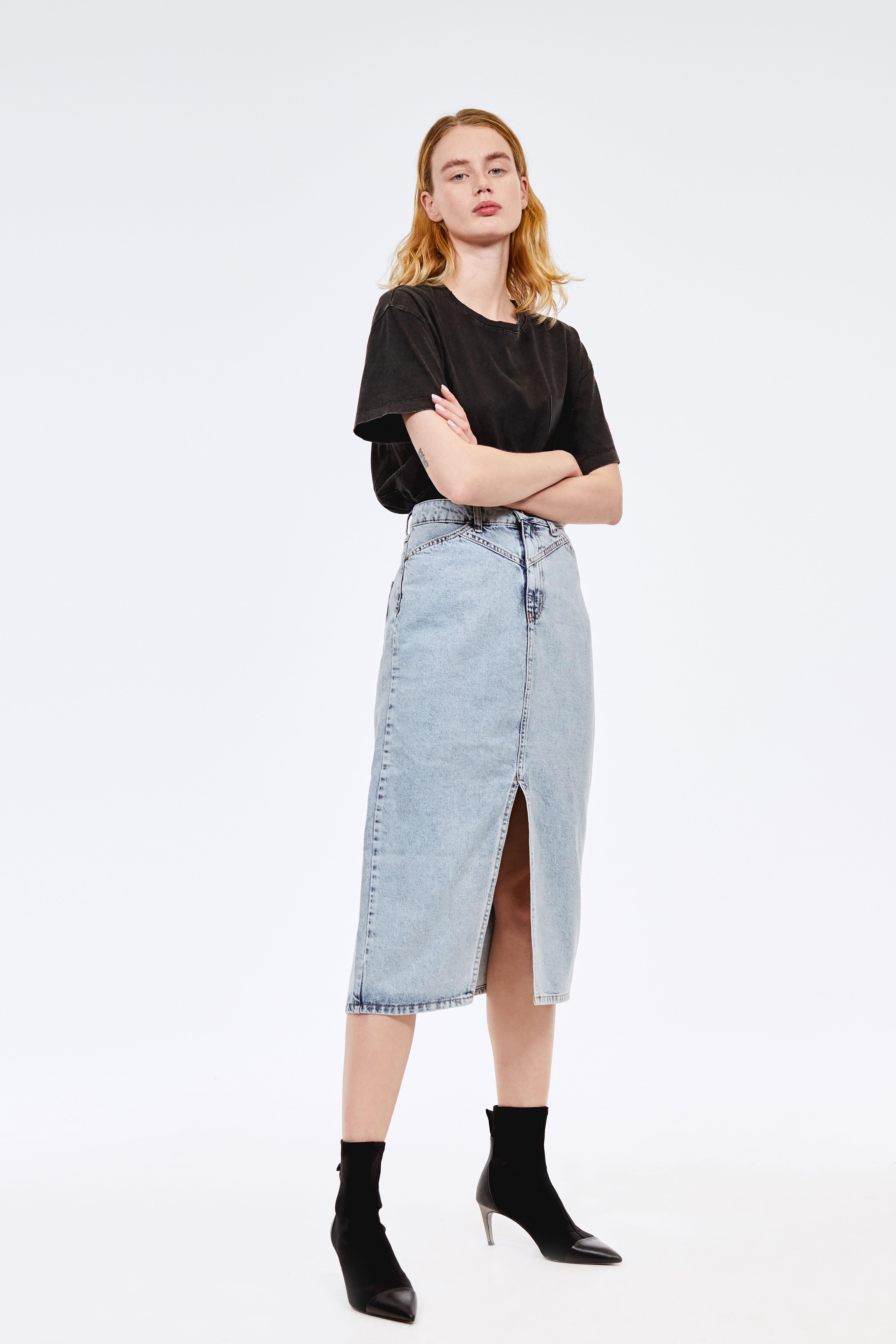 Юбка LIME Юбка с разрезом юбка короткая из денима с геометрическим рисунком