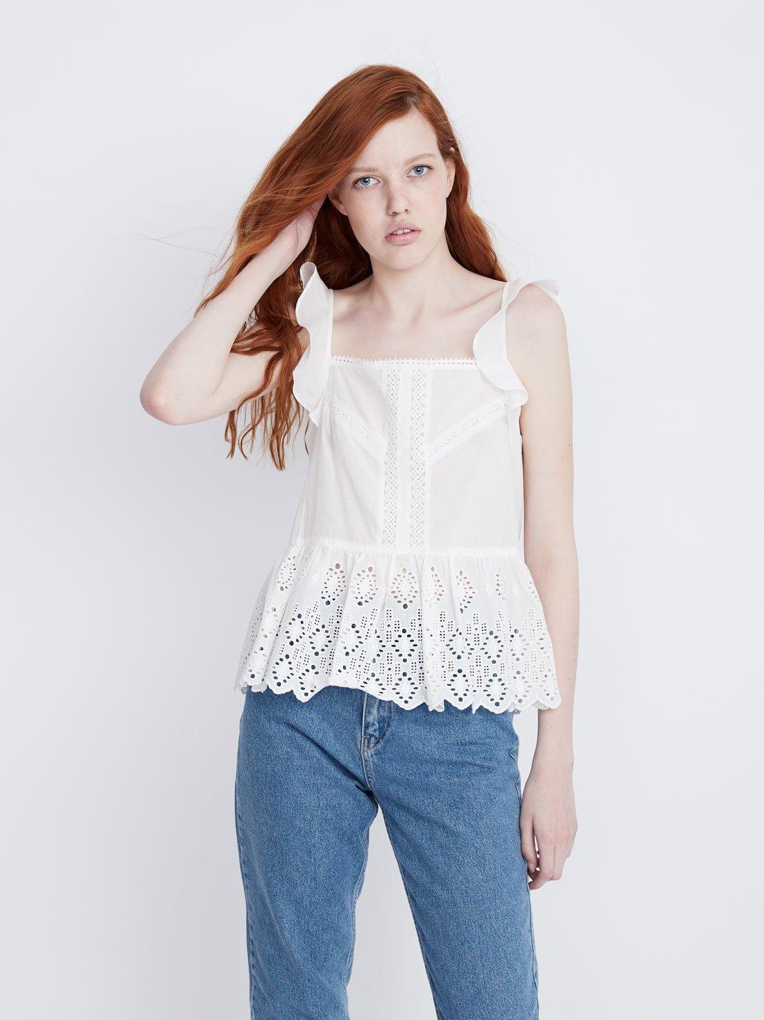 Блузка с перфорацией из хлопка