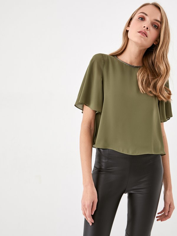 Блузка с декоративной отделкой  цвет: хаки