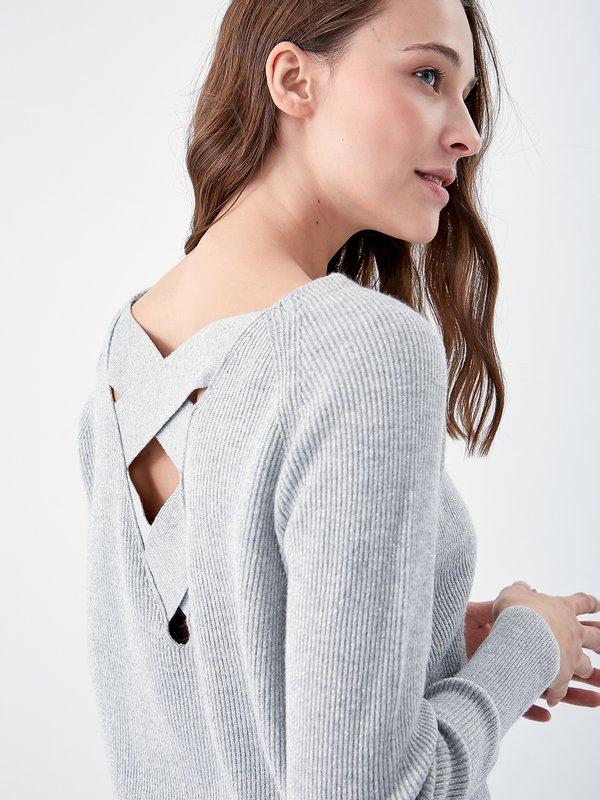 Джемпер с декоративной спиной цвет: серый меланж