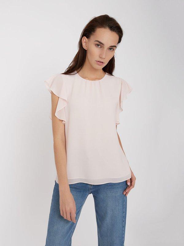 Блузка с воланами на рукавах  цвет: светло-розовый