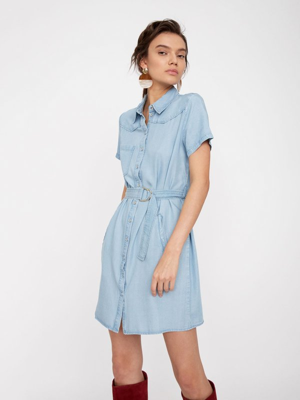 Платье на пуговицах цвет: голубой
