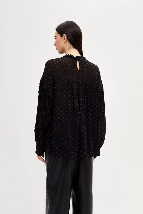 Блузка с оборками вид сзади