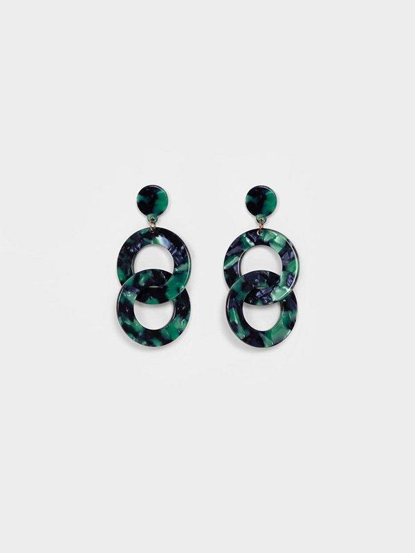 Серьги двойные кольца вид сзади