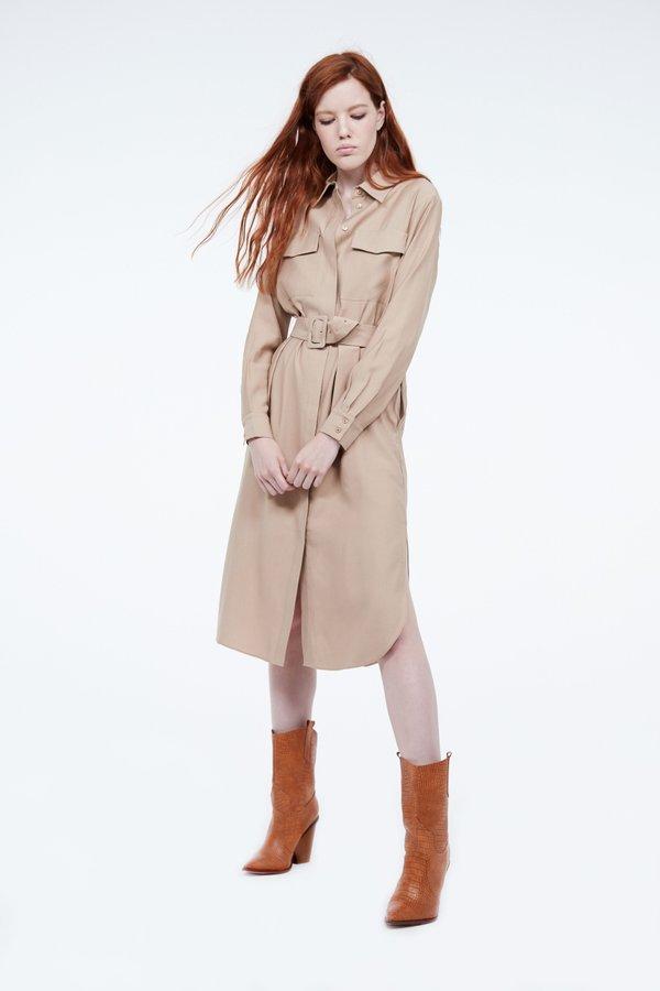 Платье-рубашка с поясом цвет: бежевый