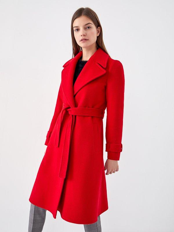 Пальто с поясом цвет: красный