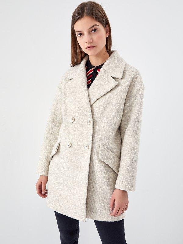 Пальто - оверсайз цвет: бежевый меланж