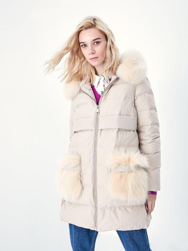 Куртка с меховой отделкой цвет: бежевый