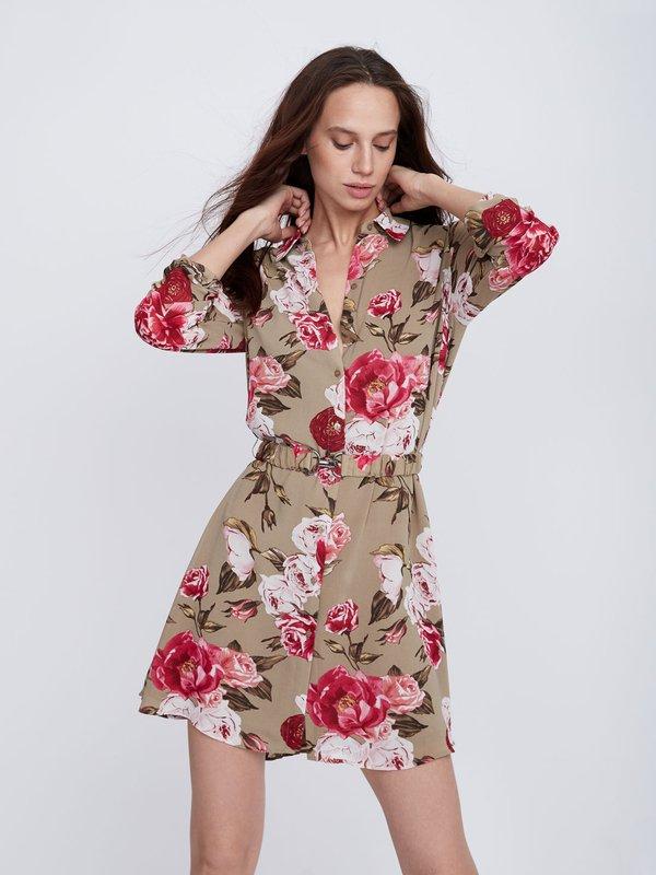 Платье с цветочным принтом цвет: темный хаки