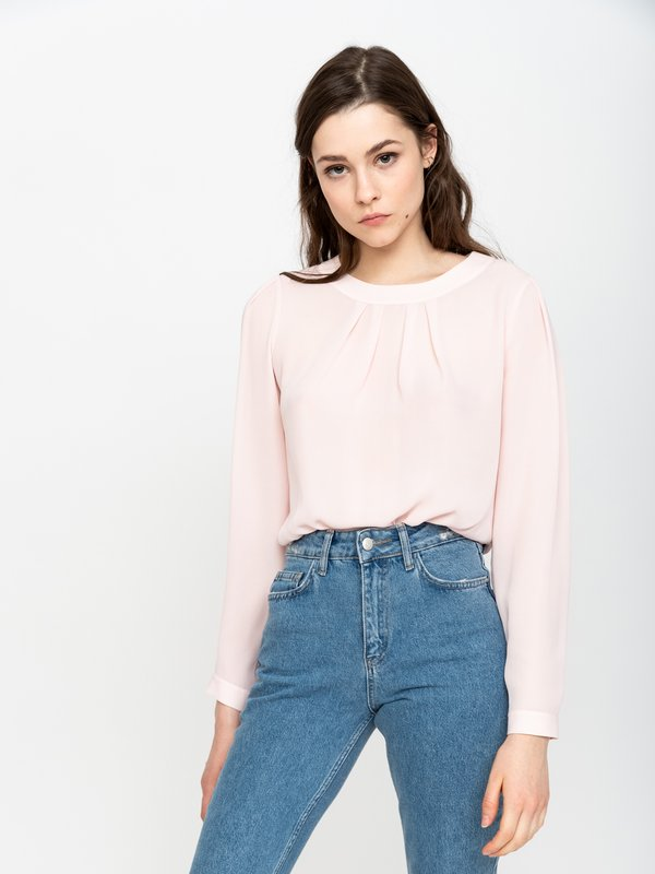 Блузка с декоративными складками цвет: светло-розовый