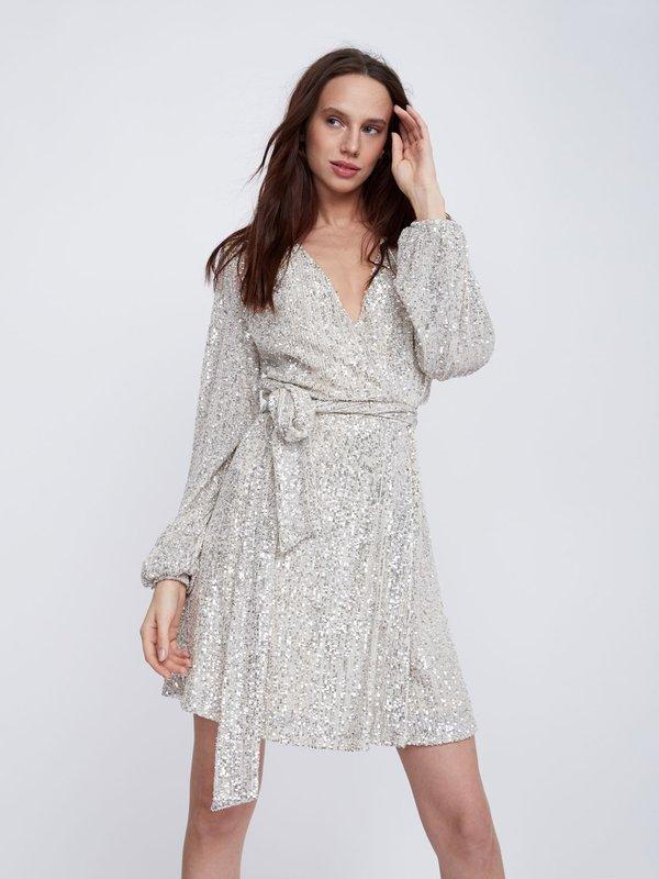 Платье с пайетками цвет: бежевый