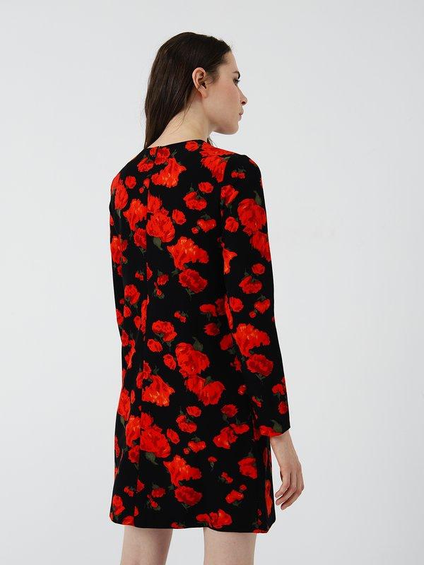 Платье А-силуэта с принтом вид сзади