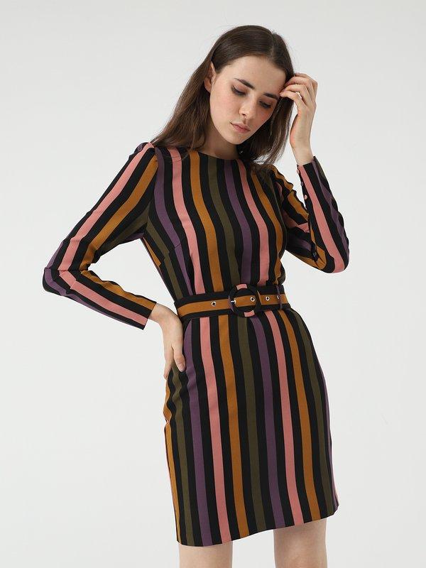 Платье с поясом цвет: красный