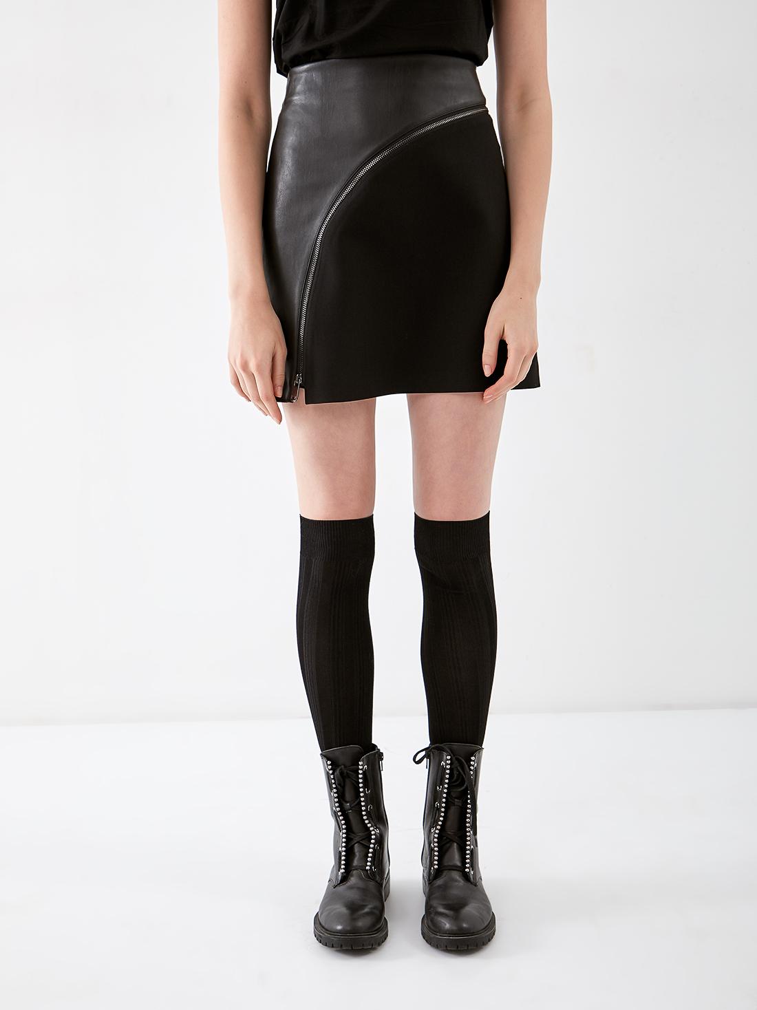 Комбинированная юбка с молнией