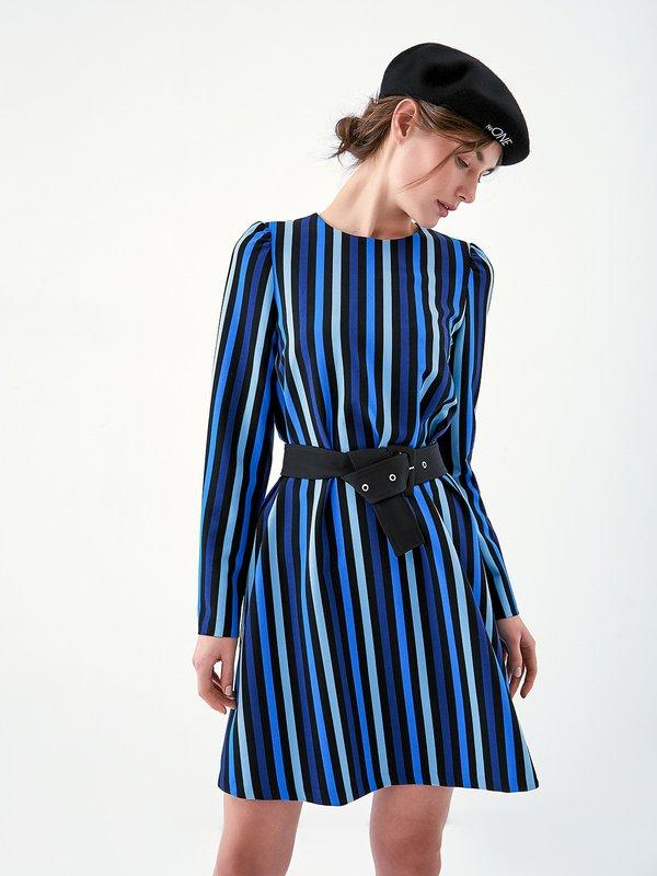 Платье с поясом  цвет: синий
