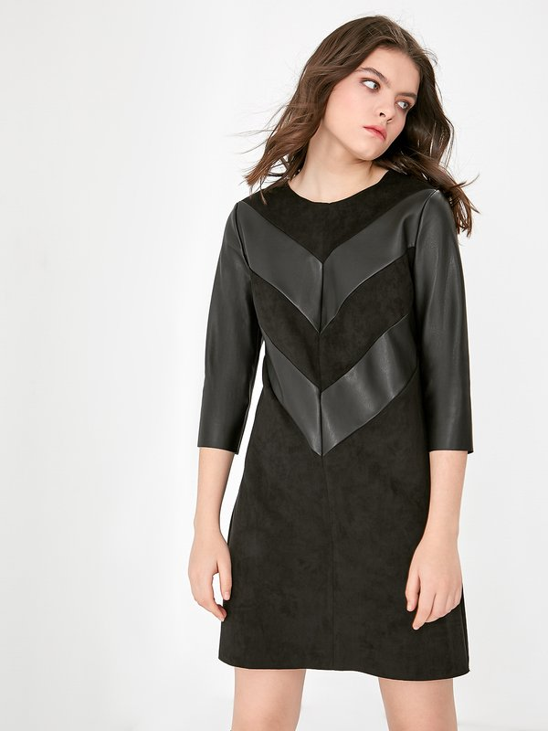 Платье с кожаным вставками