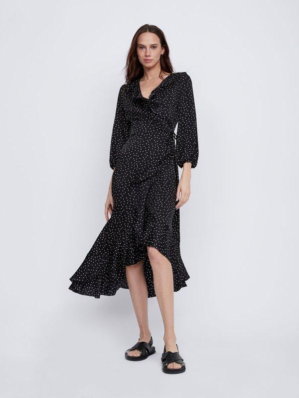 Платье с воланами цвет: черный горох