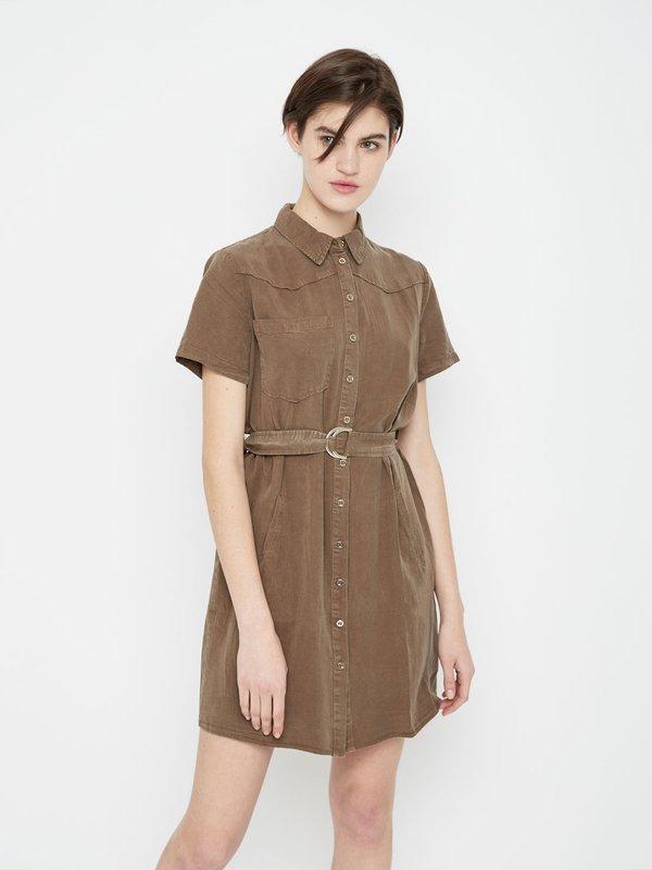 Платье на пуговицах цвет: хаки