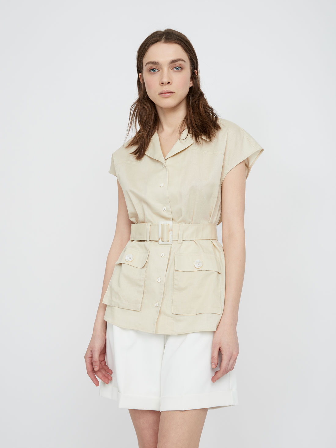 Рубашка с накладными карманами из хлопка