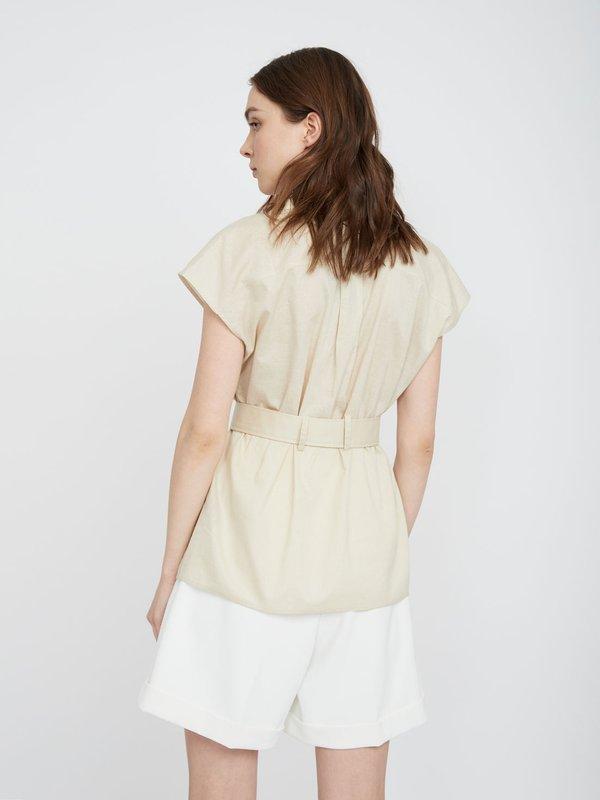 Рубашка с накладными карманами из хлопка вид сзади