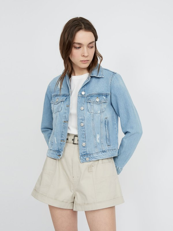Джинсовая куртка с потертостями цвет: голубой