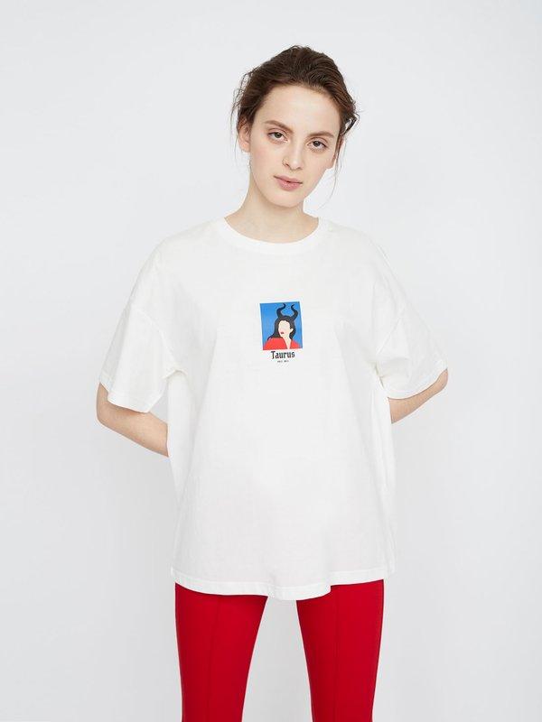 "Футболка ""Знак зодиака"" цвет: Белый/Телец"
