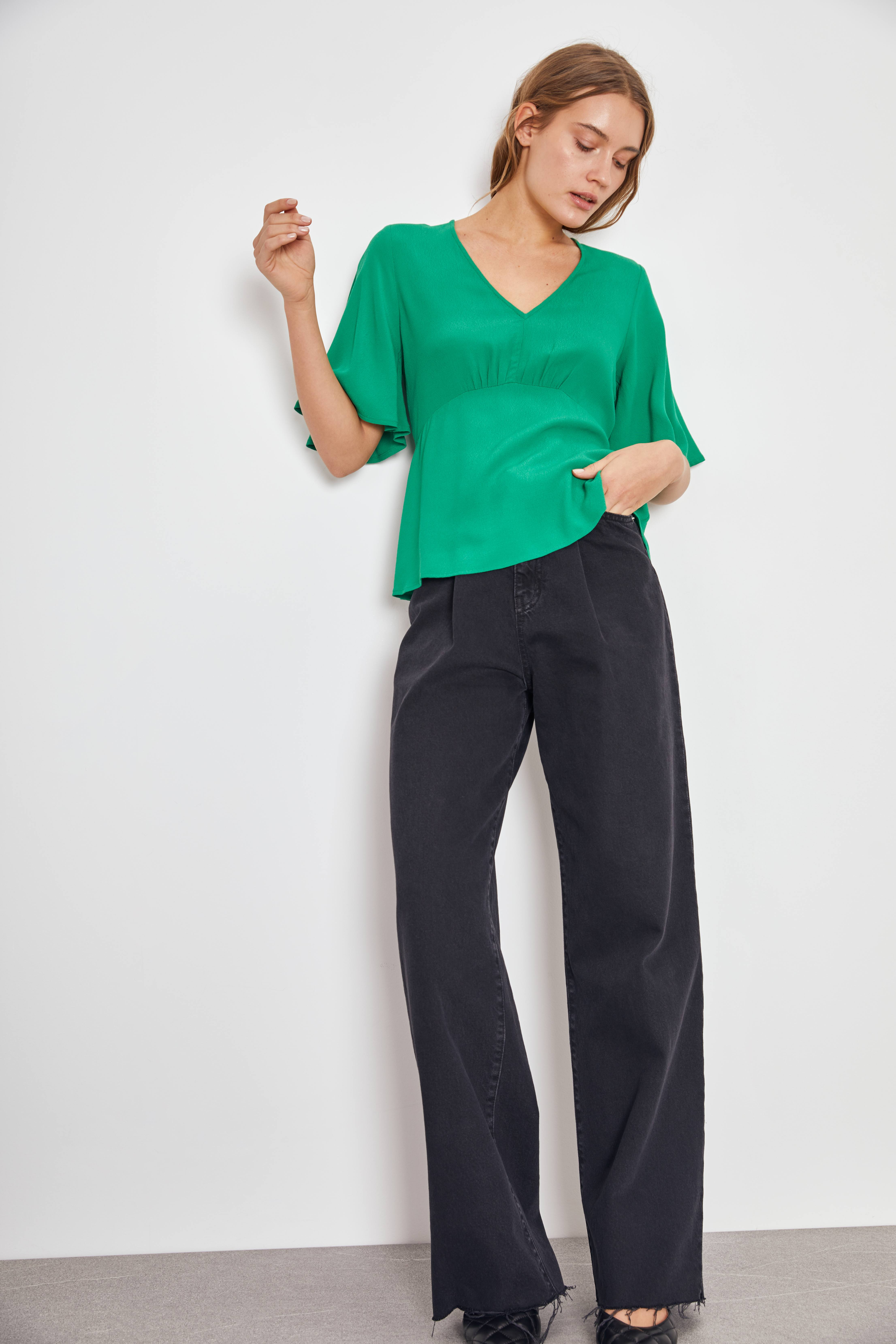 Блузка LIME Блузка с V-образным вырезом блузка lime блузка с эластичной талией
