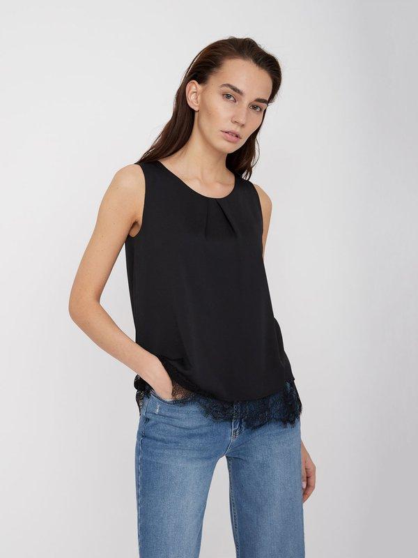 Блузка с кружевным низом цвет: черный